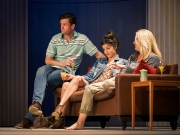 Adam Jackson-Smith (as Max), Flora Spencer-Longhurst (as Annie) and Rebecca Johnson (as Charlotte). Dress Rehearsal of The Real Thing by Tom Stoppard (a co-production by Cambridge Arts Theatre with Theatre Royal Bath and Rose Theatre, Kingston). Cambridge Arts Theatre. Cambridge, Cambridgeshire, UK. September 06, 2017. Photo: Edmond Terakopian