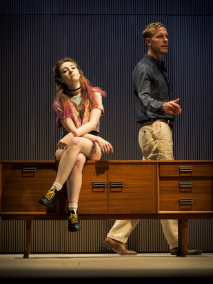 (L-R) Venice van Someren (as Debbie) and Laurence Fox (as Henry). Dress Rehearsal of The Real Thing by Tom Stoppard (a co-production by Cambridge Arts Theatre with Theatre Royal Bath and Rose Theatre, Kingston). Cambridge Arts Theatre. Cambridge, Cambridgeshire, UK. September 06, 2017. Photo: Edmond Terakopian