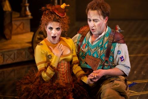 Sofia Troncoso (Papagena) and Richard Burkhard (Papageno) in The Magic Flute. Scottish Opera 2019. Credit James Glossop